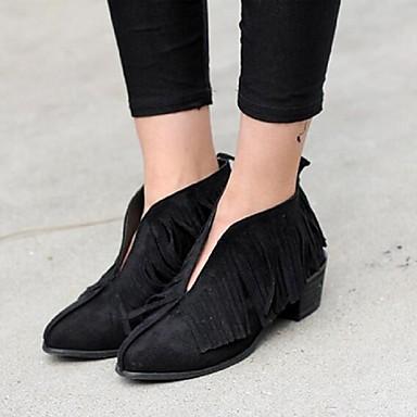 レディース 靴 PUレザー 秋 ブーティー ブーツ チャンキーヒール タッセル 用途 カジュアル ブラック Brown