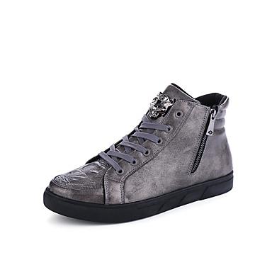 Miehet kengät Tekonahka Kevät Kesä Syksy Talvi Comfort Muotisaappaat Bootsit Käyttötarkoitus Urheilullinen Kausaliteetti Musta Harmaa