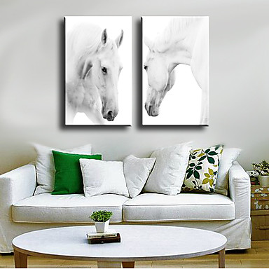 Animales Modern, Dos Paneles Lona Vertical Estampado Decoración de pared Decoración hogareña