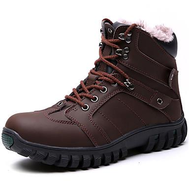 Homens sapatos Pele Napa Primavera / Outono / Inverno Conforto / Botas Cowboy / Country / Botas de Neve Botas Aventura Preto / Café
