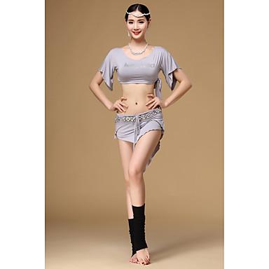 ベリーダンス セット 女性用 訓練 モーダル 2個 半袖 ローウエスト 上着 スカート