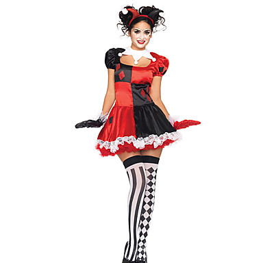 Cosplay Kostumer Dyremønster Festival/høytid Halloween Kostumer Rød / Svart Lapper Kjole / Mer Tilbehør Jul Kvinnelig Terylene