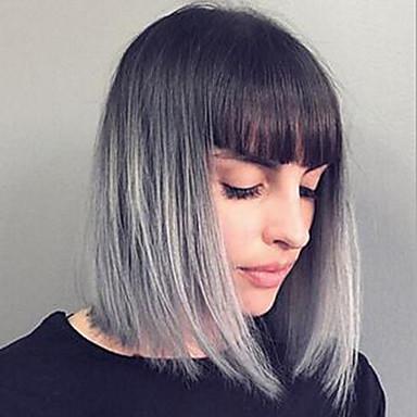 Synteettiset peruukit Laineita Bob-leikkaus Synteettiset hiukset Harmaa Peruukki Naisten Suojuksettomat / Kyllä
