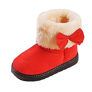 女の子 ブーツ スノーブーツ ファッションブーツ コンフォートシューズ 春 秋 冬 ファー レザーレット ウォーキング カジュアル プラットフォーム ブラック フクシャ Brown レッド 1~1 3/4インチ