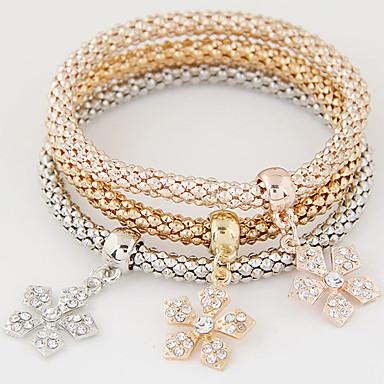 女性用 チャームブレスレット ぜいたく 欧風 シンプルなスタイル ファッション 多層式 ラインストーン イミテーションダイヤモンド 合金 ジュエリー 贈り物 日常