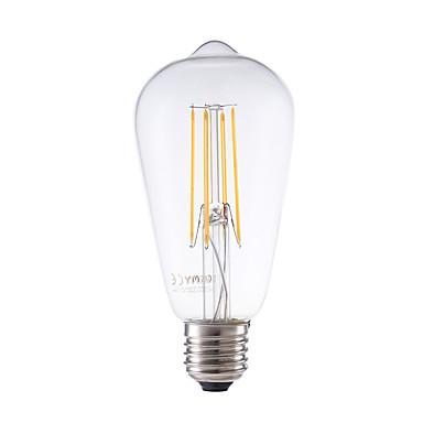 GMY® 1pc 600lm E26 / E27 Bombillas de Filamento LED ST58 4 Cuentas LED COB Regulable Decorativa Blanco Cálido 220-240V
