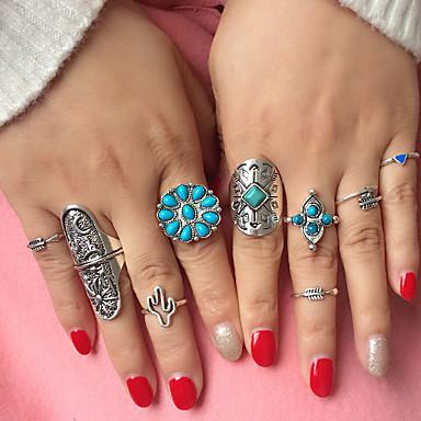 Dame Bohemsk Harpiks / Turkis / Legering Smykke Sett / Ring - Trekant / Geometrisk Form Bohemsk / folk Style / Statement Sølv Ringe Til