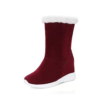 Dame Sko Fleece Høst Vinter Trendy støvler Støvler Kilehæl Rund Tå Til Avslappet Formell Svart Grå Lysebrun Burgunder Mørkegrønn
