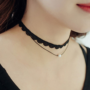cheap Necklaces-Women's Choker Necklace Tattoo Choker Personalized Tattoo Style Double-layer Fashion Pearl Lace Black Necklace Jewelry For Wedding Party Daily Casual