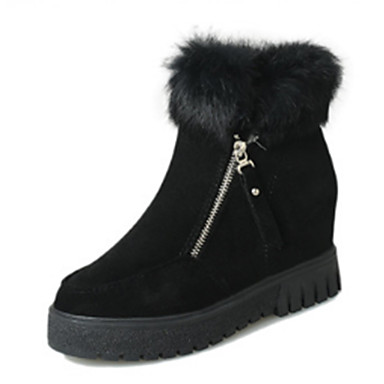 Dame Sko Semsket lær Vinter Komfort / Snøstøvler / Trendy støvler Støvler Flat hæl Rund Tå Svart / Grønn / Mørkebrun