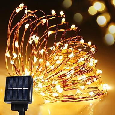 solenergi streng lys vanntett led stripe 10m 100led kobbertråd lampe varm hvit for utendørs dekorasjon lys