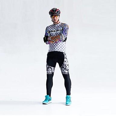 Malciklo Hombre Manga Larga Maillot de Ciclismo con Mallas Británico Bicicleta Medias / Mallas Largas, Almohadilla 3D, Secado rápido, Transpirable Coolmax®, Licra / Alta elasticidad