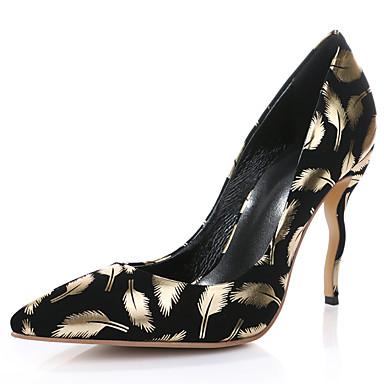女性-ウェディング パーティー-レザー-スティレットヒール-コンフォートシューズ アイデア クラブシューズ 靴を点灯-ヒール-ブラック