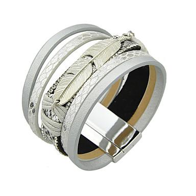 baratos Pulseiras de couro-Mulheres Pulseiras de couro senhoras Pulseira de jóias Prata / Cinzento / Azul Para Casual