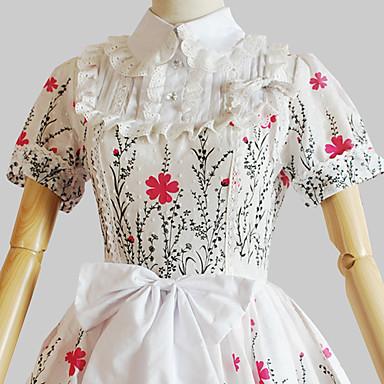 Niedlich Prinzessin Damen Einteilig Kleid Cosplay Blumen Kurzarm
