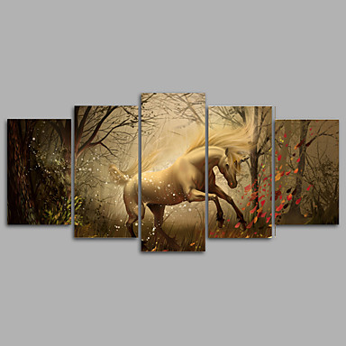 動物 ファンタジー 伝統風,5枚 キャンバス 横式 プリント 壁の装飾 For ホームデコレーション