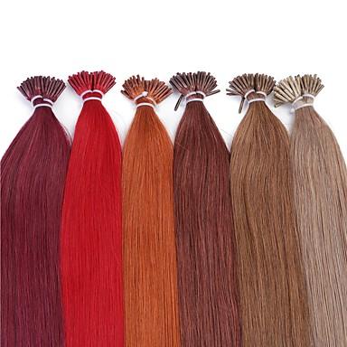 Fusion /I Tip Hiukset Extensions Aitoa hiusta Suora 25 Strands / pakkaus 20 tuumainen