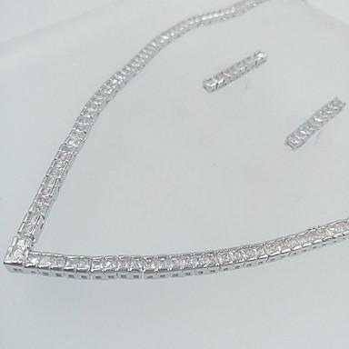 Damen Schmuckset Brautkleidung Zirkon Kubikzirkonia Halsketten Ohrringe Für Hochzeit Party Hochzeitsgeschenke