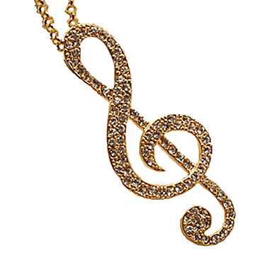 Women's Music Notes Pendant Necklace Rhinestone Pendant Necklace Costume Jewelry