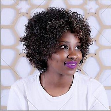 女性 人工毛ウィッグ キャップレス カーリー アフロ ブラック ナチュラルウィッグ ハロウィンウィッグ カーニバルウィッグ コスチュームウィッグ