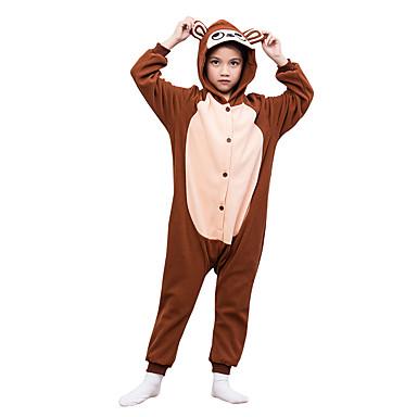KIGURUMI Yöpuvut Anime Trikoot/Kokopuku Festivaali/loma Animal Sleepwear Halloween Kahvi Yhtenäinen Polar Fleece varten Lapset Halloween