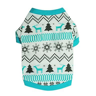 Hunde T-shirt Hundekleidung Winter Sommer Schneeflocke Niedlich Modisch Weihnachten Blau