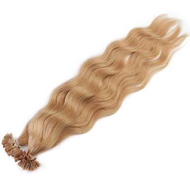 Queratina / Ponta U Extensões de cabelo humano Encaracolado / Ondulado Natural Cabelo Humano Mulheres Diário