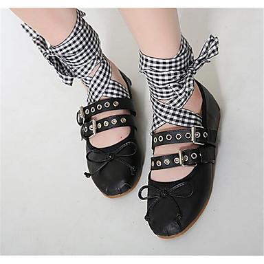 女性用 靴 PUレザー 春 コンフォートシューズ フラット ラウンドトウ のために カジュアル アウトドア ホワイト ブラック
