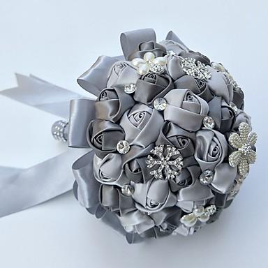 Bouquets de Noiva Buquês / Decoração de Casamento Original Ocasião Especial / Festa / Noite Miçangas / Strass / Seda 19.7