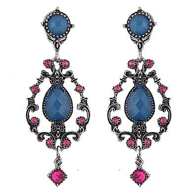 Mulheres Brincos Compridos - Strass Europeu, Fashion Azul Para Diário