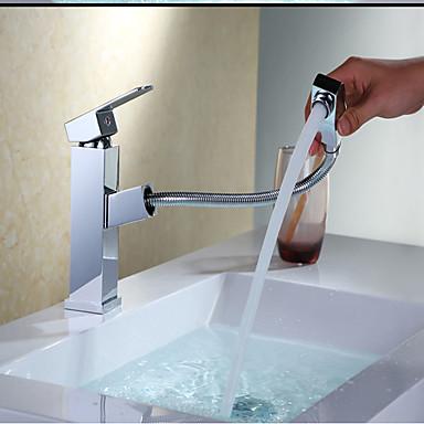 Lavandino rubinetto del bagno doccia a pioggia cromo installazione centrale una manopola un - Rubinetto lavandino bagno ...