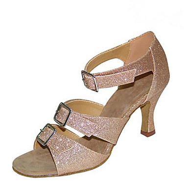 Mulheres Sapatos de Salsa Flocagem / Glitter Sandália / Salto Presilha / Fru-Fru Salto Personalizado Personalizável Sapatos de Dança Preto / Camel / Espetáculo