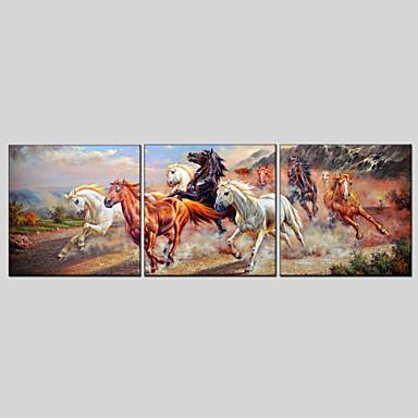 Hang malte oljemaleri Håndmalte - Dyr Klassisk / Moderne Lerret / Tre Paneler / Stretched Canvas