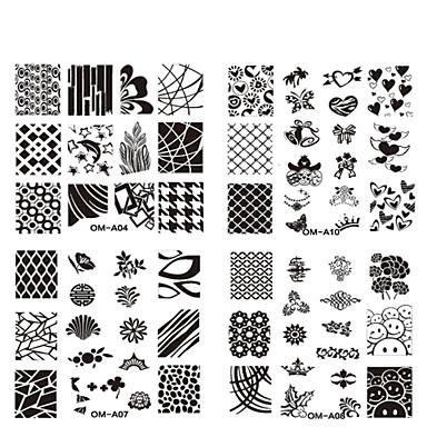 10 pcs Stamping Plate / Nail Jewelry Flower / Fashion Daily / Metal