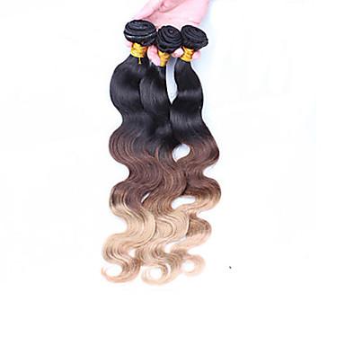 Düz Brezilya Saçı Vücut Dalgası İnsan saç örgüleri 3 Parça Ombre