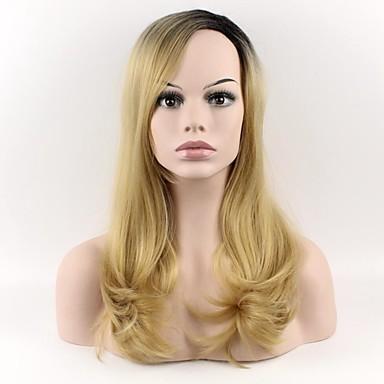 Pelucas sintéticas Mujer Ondulado Amplio Rubio Con flequillo Pelo sintético Rubio Peluca Media Sin Tapa Rubio