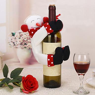 1pc jul borddekoration snemand vinflaske dække håndklædeholder indretning ferie party gave