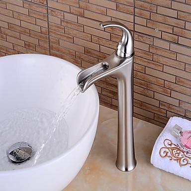 Grifo de bañera - Cascada Níquel Cepillado Conjunto Central Sola manija Un agujero