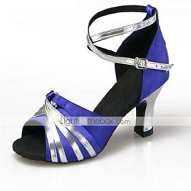 Women's Latin Shoes Satin High Heel Buckle Chunky Heel Non Customizable Dance Shoes Black and Gold / Sliver and Blue / Gold / Indoor
