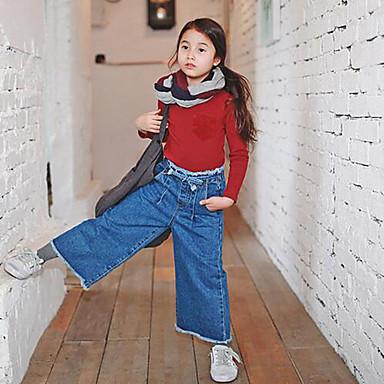 Para Meninas Jeans Casual Cor Única Outono Algodão