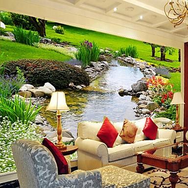 אפקט עור עכשווי shinny 3D טפט ציור קיר גדול אמנות טבע נחל ירוק עיצוב קיר