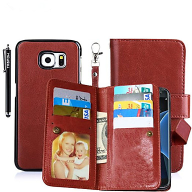 Hülle Für Samsung Galaxy Kreditkartenfächer Geldbeutel mit Halterung Flipbare Hülle Magnetisch Ganzkörper-Gehäuse Volltonfarbe Hart
