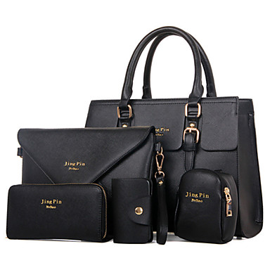 Women's Bags PU Bag Set Zipper / Flower Black / Red / Purple