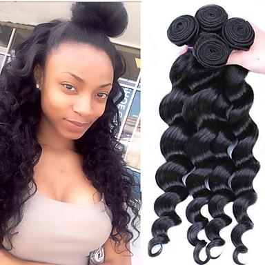 Az emberi haj sző Maláj haj Laza hullám 3 darab haj sző