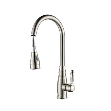 Kitchen Faucet Single Handle One Hole Nickel Brushed Pull Out