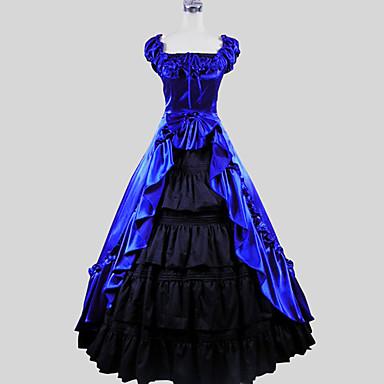 Victoriano Disfraz Mujer Vestidos / Falda Azul Cosecha Cosplay Charmeuse / Algodón Manga Corta Casquillo Hasta el Tobillo