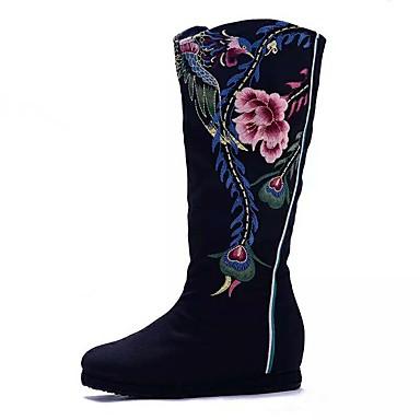 Naiset Kengät Canvas Kevät Talvi Comfort Muotisaappaat Brodeerattu kengät Bootsit Kävely Kiilakorko Pyöreä kärkinen Satiinikukilla