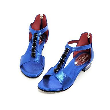 billige Sandaler til damer-Dame Sko PU Sommer Komfort / Ankelrem Sandaler Gang Kraftige Hæle / Blokhæl Åben Tå Krystal / Lynlås Sort / Rosa / Blå / Blokhæl Sandaler