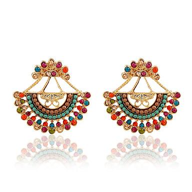 Mulheres Brincos Curtos - Imitações de Diamante Luxo Preto / Arco-íris / Azul Para