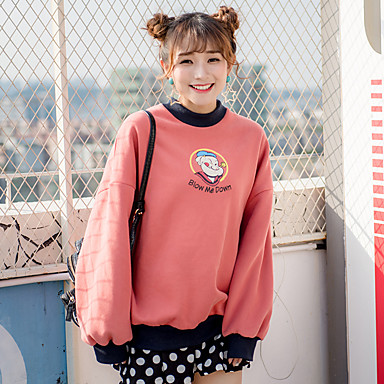 サイン万博ベルベット韓国の冬モデル緩いラウンドネックカラー漫画プリントカシミヤのセーターの女性を襲いました